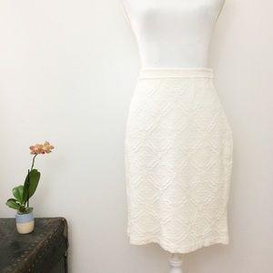 St. John Ivory Embroidered Geometric Skirt Size 8